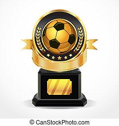 gouden, voetbal, vector, toewijzen, medals.