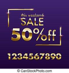gouden, vrijstaand, aanbod, dit, tekst, verkoop teken, paarse , vector, achtergrond., korting, weekend, template., getallen