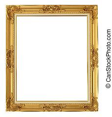 gouden, vrijstaand, af)knippen, path., frame, achtergrond, witte