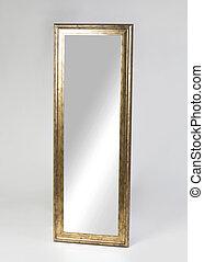 gouden, vrijstaand, ingelijst, groot, achtergrond, spiegel, witte