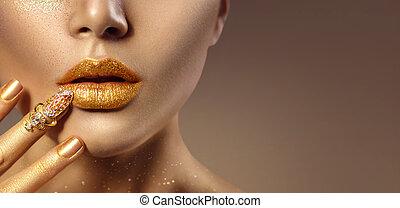 gouden, vrouw, kunst, gezicht, mode, closeup, huid, verticaal