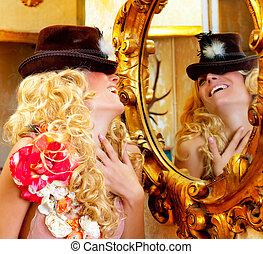 gouden, vrouw, mode, blonde , spiegel, barok, hoedje