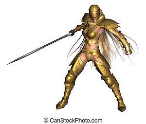 gouden, vrouwlijk, fantasie, strijder, -, 3