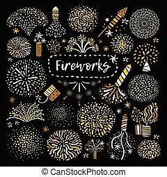 gouden, vuurwerk, set, feestelijk, iconen