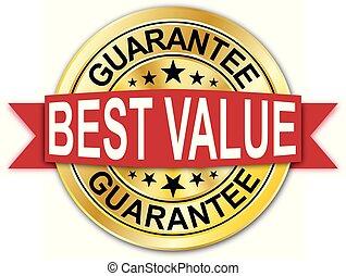 gouden, web, medaille, waarde, best, munt, badge, ronde, rood, borg staan voor