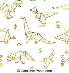 gouden, weefsel, wrapping., pattern., seamless, dinosaurussen, achtergrond, ontwerp, plezier, origami, omtrek