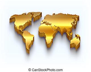 gouden, wereldkaart