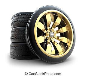 gouden, wielen, set, vrijstaand, witte