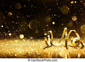 gouden, wimpels, met, schitteren