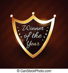 gouden, winnaar, etiket, vector, ontwerp, jaar