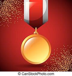 gouden, winnen, toewijzen, versiering, medaille, lint