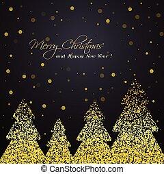 gouden, winter, groet, bomen, glanzend, card.