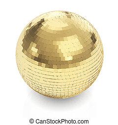 gouden, witte bal, disco