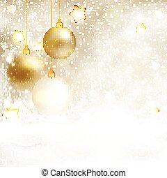 gouden, witte , baubles, achtergrond, kerstmis