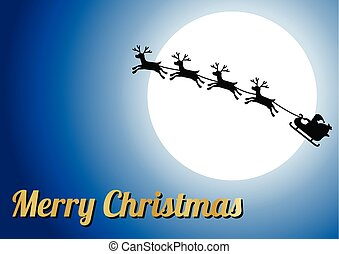 gouden, zalige kerst, tekst, rendier, met, santa claus, vlieg, en, groot, volle maan, achtergrond, zonder, ster