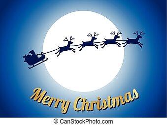 gouden, zalige kerst, tekst, rendier, met, santa claus, vlieg, en, groot, volle maan, op, centrum, achtergrond, zonder, ster