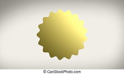gouden zegel, sticker, w, alfa