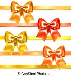 gouden, zijde, buigingen, brons, lint