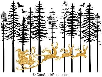 gouden, zijn, claus, arreslee, vector, kerstman