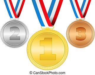 gouden, zilver, brons, medailles