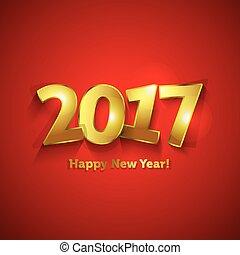 gouden, zoet, groet, jaar, nieuw, 2017, kaart, vrolijke