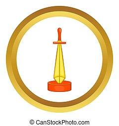 gouden, zwaard, toewijzen, pictogram