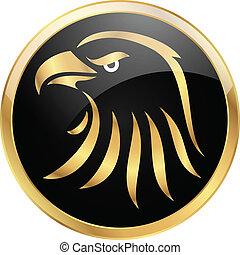 gouden, zwarte achtergrond, adelaar