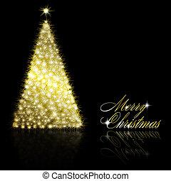 gouden, zwarte achtergrond, kerstboom