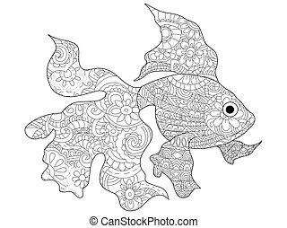 goudvis, kleuren, vector, volwassenen, boek