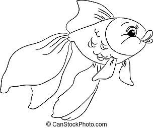 goudvis, schattig, geschetste, spotprent