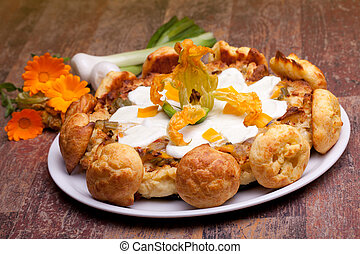 Gougère With Vegetables, Calendula Flowers And Green Onions
