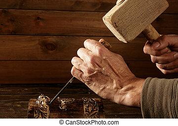 gouge, attrezzo, cesello, carpentiere, mano, legno, martello