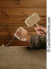 gouge, herramienta, cincel, carpintero, mano, madera,...