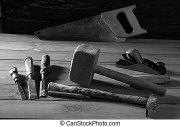 gouge, herramientas, sierra, carpintero, avión, madera, ...