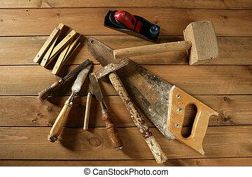 gouge, herramientas, sierra, carpintero, avión, madera, cinta, martillo