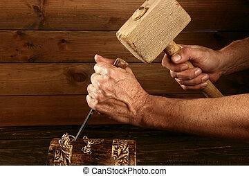 gouge, instrument, dłuto, stolarz, ręka, drewno, młot