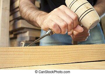 gouge, trabajando, de madera, herramienta, cincel, ...