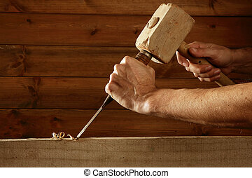 gouge, verktyg, mejsel, snickare, hand, ved, hammare