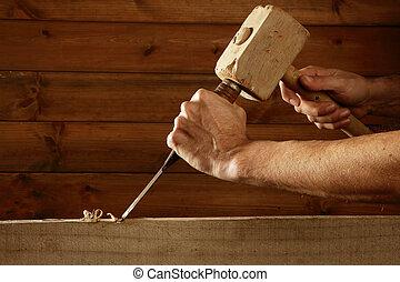 gouge, werktuig, beitel, timmerman, hand, hout, hamer