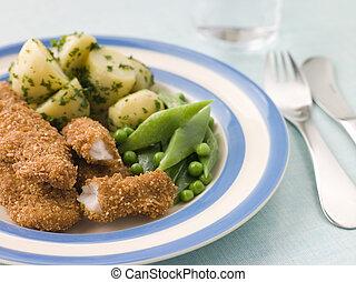 goujons, patate, verdura, verde, imburrato, nuovo, erba, pollo