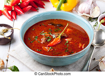 Traditional Hungarian dish. Homemade Tomato Soup for Lunch