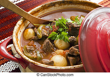 Goulash - Crock pot of beef goulash, ready to serve. Lovely ...