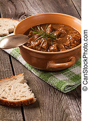 Goulash soup. - Goulash soup with pork and mushrooms.