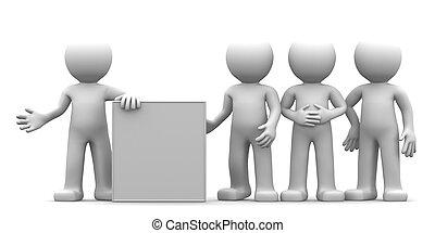 goup, gens, projection, caractère, vide, bannière, 3d