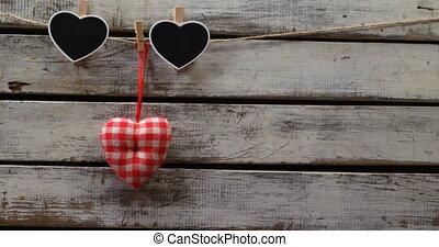 goupillé, coeur, décoration, 4k, formé, corde