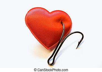 goupillé, coeur, peche, rouges, crochet