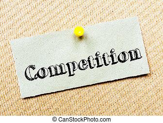 goupillé, concurrence, bouchon, note, recyclé, papier, board., message