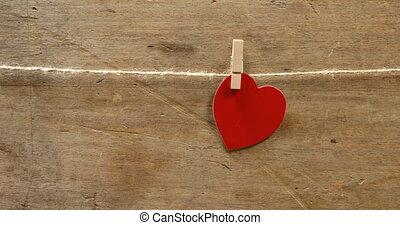 goupillé, ficelle, coeur, 4k, formé, rouges
