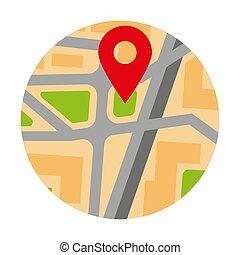 goupille carte, coloré, emplacement, marqueur, cercle, rouges