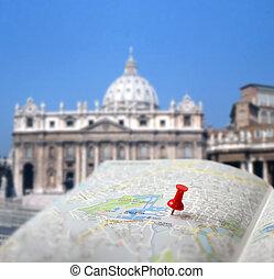 goupille carte, destination voyage, rome, barbouillage, poussée